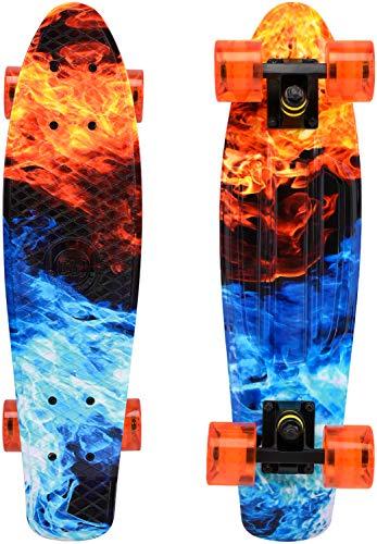 ChromeWheels Skateboards 22 inch Complete Skateboard Deck Mini Cruiser for Kids Boys Girls Youths Beginners, Fire