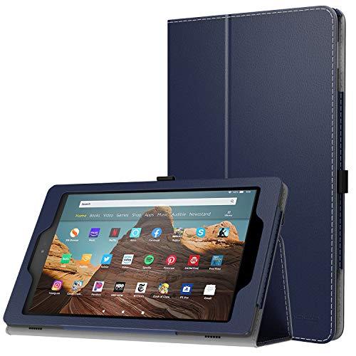 MoKo Hülle für Das Neue Amazon Fire HD 10 Tablet (9. Gen 2019 und 7. Gen 2017 Model), Kunstleder Ständer Schutzhülle Smart Cover Auto Sleep/Wake up für Fire HD 10,1 Zoll Tablette, Marineblau