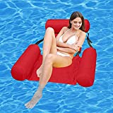 LOVEYIKOAI Water Hammock Pool Toys,Inflatable Ride-ons Swimming Pool Beach Floating Recliner Inflatable Water Floating Bed Lounge Chair Swimming Pool Beach Float for Adult or Kids (Red)