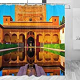 España Alhambra Granada Cortina de Ducha Viaje Decoración de Baño Set Con Ganchos Poliéster 72x72inch (YL-05223)