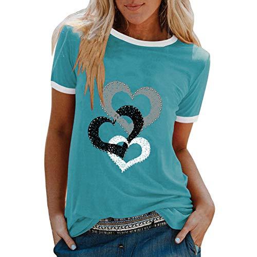 YANFANG Camiseta De Manga Corta Suelta con Cuello Redondo Y Estampado Informal A La Moda para Mujer, Blusa Superior, Jersey Camisetas Mujer Raya Blusas Tops FiestaMBlue
