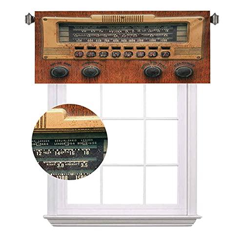 Cenefas de bolsillo para barra de oscurecimiento, retro, antigua, radio, reproductor de música, con temática navideña, impermeable, lavable, para ventana pequeña, 52 x 18 pulgadas, color marrón crudo