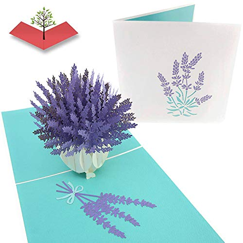 PopLife French Lavender Pop Up Mother's Day Card - 3D Flower Anniversary Pop Up, Happy Birthday, Thank You, Valentine's Day Gift - Folds Flat for Mailing - for Mom, for Daughter, Wife, Grandma