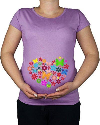 Maternité Grossesse Taille 10–20 Papillon Cœur Amour Imprimé Top Tunique T-Shirt - -