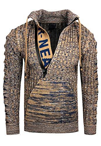 Rusty Neal Zipper Stehkragen Pullover Herren Strick Grobstrick Strickpullover Langarm 328, Größe:XL, Farbe:Camel