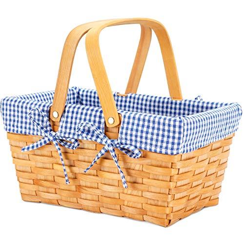 Woodchip Picnic Basket with Double Folding Handles, Natural Hand Woven Basket, Woodchip Basket, Wicker Gift Basket