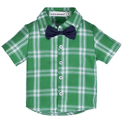 BIG ELEPHANT Unisex Baby Long & Short Sleeve Button Down Blue & Red Plaid Shirt for Kids Little Boys Girls Newborn-8T