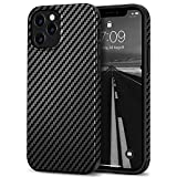 Tasikar Compatible with iPhone 12 Pro Max Case Carbon Fiber Leather Design with TPU Hybrid Slim Case (Black)