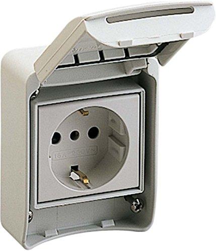 Schneider 81141 Anbausteckdosen, grau, 2p+E, 10/16A, 250 V, Deutschland, IP65