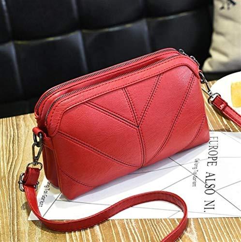 Ys-s Personalización de la Tienda Alturas Tono Tono Bolso de Mano de Lujo Mensaje de Mensajero Suave PU Cuero Bolso de Hombro Moda Damas Bags Bolsas Hembra (Color : Wine Red, Size : 25x7x15m)
