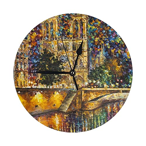 GOSMAO Round Wall Clock,Watercolor Notre Dame De Paris,Hanging Clock Desk Clock Decorative Clock For Home School Office