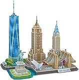 Rompecabezas 3D Paris City Skyline Puzzle DIY Kits de modelos de construcción, decoración y regalo de recuerdo para niños y adolescentes, Torre Eiffel, Estatua de la Libertad,New york cityline