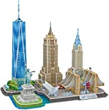 Rompecabezas 3D New York Cityline Architecture Building Model Kits Collection Toys Gift Saqueta, Estatua de la Libertad, Empire State Building, Chrysler Building 123 Piezas