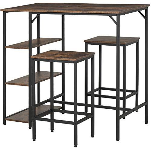 HOMCOM Set de Mesa de Bar y 2 Taburetes con Reposapiés y Estantes de 3 Niveles Almohadillas Ajustables para Cocina Comedor 109x60x100 cm Marrón Rústico
