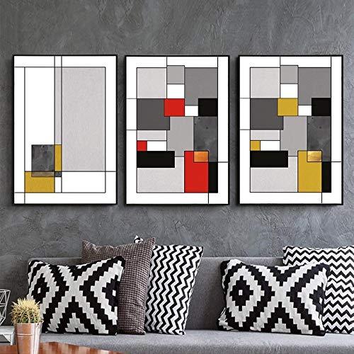 3 piezas geométricas abstractas rojo amarillo lienzo pinturas cartel vintage e impresión imágenes artísticas de pared decoración del hogar (30x60 cm) sin marco