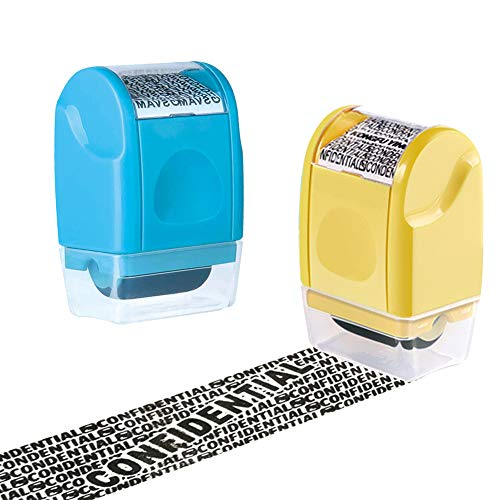 HahaGo 2PCS Wide Roller Stamps, Unlimited Re-Inking Identity Theft Prevention Stamp Rolling Security Stamp Privacy Protection, Guard Your ID Privacy Confidential Data (Light Blue + Yellow)