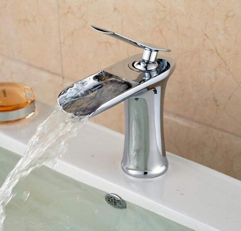Verchromte Einstellbare Temperaturempfindliche Led-Wasserhahn Wasserhahn-Mischer-Wasserfall-Heie Und Kalte Wasserhhne Für Becken Des Badezimmers