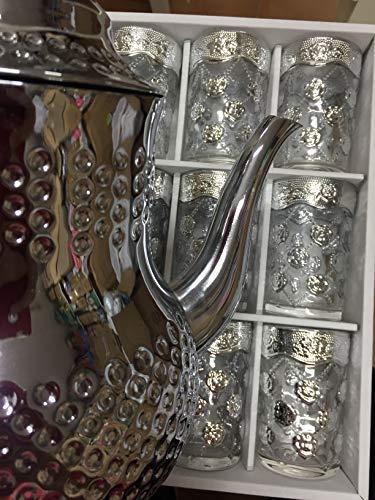 SL 12 Vasos de Cristal para Té marroquí (Plata-Tete)