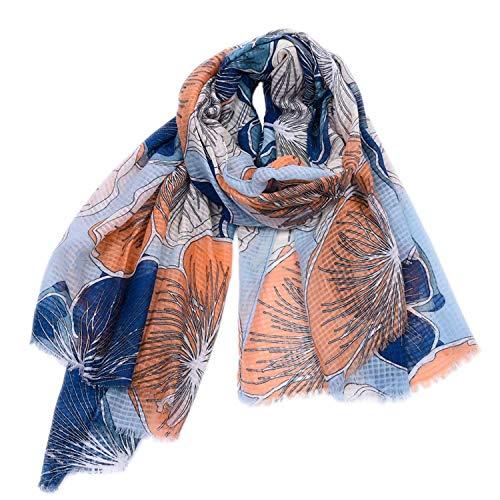 Acogedora Bufandas Grandes flores de bombeo de algodón y lino Imprimir bufandas...