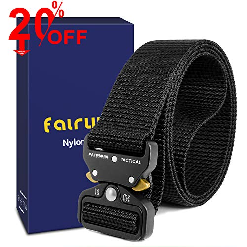 "Fairwin Tactical Belt, Military Style Webbing Riggers Web Belt with Heavy-Duty Quick-Release Metal Buckle (S 30""-36"