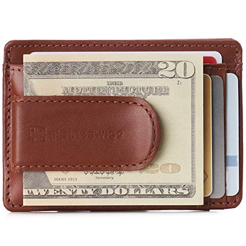 Alpine Swiss Dermot Mens RFID Safe Money Clip Minimalist Wallet Smooth Leather Comes in Gift Box Tan