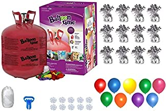 Helium Tank with 50 Balloons and White Ribbon + 12 Silver Balloon Weights + Plus Balloon Tying Tool and Flower Clips