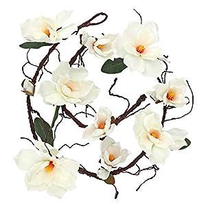 LSME 6.1Ft Artificial Magnolia Flower Garland White Hanging Vine for Wedding Arch Wall Backdrop Home Garden Decoration