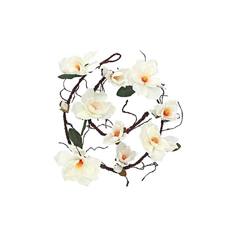 silk flower arrangements 6.1 ft artificial magnolia flower garland hanging for wedding arch wall backdrop home garden decoration (white)