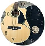 Reloj de pared redondo de 30,5 cm, funciona con pilas, con números árabes, reloj de guitarra, decoración del hogar
