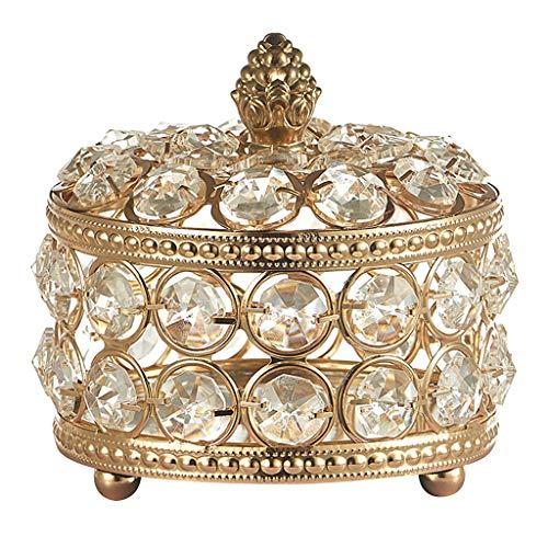 Fenteer Cajas de joyería de Cristal para Mujer-Organizador de Almacenamiento de Joyas-Anillos portátiles Collar de Pendientes Caja de Almacenamiento de Joyas - 10x10cm