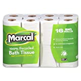Marcal Toilet Paper 100% Recycled - 2 Ply White Bath Tissue, 168 Sheets Per Roll - 16 Big Roll Green Seal Certified Toilet Paper 16466