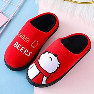 ZKMTXHome slippers House slippers winter women cute cartoon bear soft non-slip warm slippers indoor bedroom lovers flat couples shoes (Color : Big red, Size : (37-38))