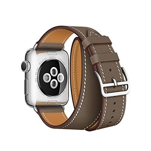 Firsteit Correa de piel de repuesto compatible con Apple Watch de 42 mm, 44 mm, correa de piel auténtica para iwatch Series 6, 5, 4, 3, 2 y 1 Sport&Edition (doble Tour-Brownness, 42 mm/44 mm)