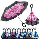 ZOMAKE Paraguas de Doble Capa Invertido, Paraguas Plegable Reversible con Protección contra Rayos UV, Resistencia con Viento, Mango en Forma de C para Mujer Hombre Coche(Flor de Hibisco)