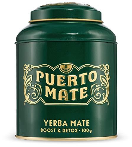 PUERTO MATE® – Yerba Mate Tee (100g) Schonende Trocknung, koffeinhaltiger, natürlicher Wachmacher aus Argentinien. In edler Teedose im klassischen Design.
