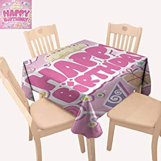 UHOO2018 Kids Birthday,Printed Tablecloth Cartoon Seem Party Image Balloons Boxes Clouds Cake Celebration Image Print Oil-Proof Spill-Proof and Water Light Pink 36