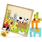 LBLA Puzzle in Legno Animali Tetris in Legno Giochi di Equilibrio Legno Montessori Giocatt...