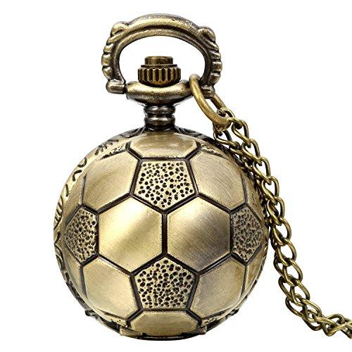 JewelryWe Montre de Poche Foot-Ball Chiffre Cadran Punk Rock Pendentif Chaîne Alliage Fantaisie pour Homme et Femme Couleur Bronze Chaîne Lognueur 80c