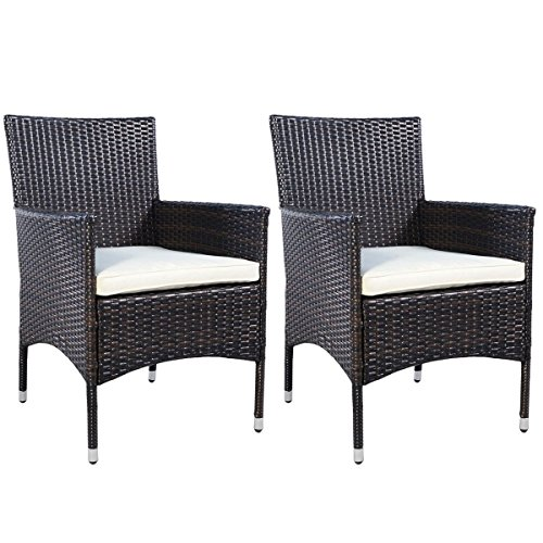 Best Quality 2 Wicker Chairs Furniture - For All Weather Dinning Conversations on Patio Outdoor Deck Garden Poolside Beach, Dark Mocha Color, Easy Lightweight Movable