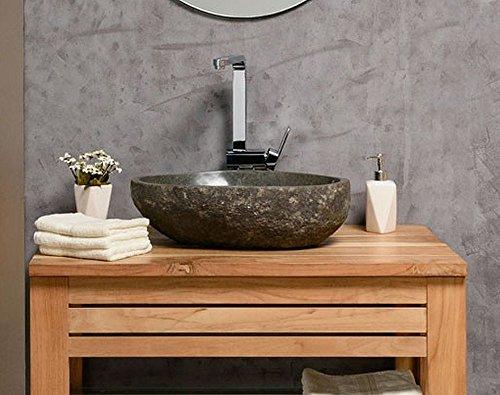 wohnfreuden Waschbecken aus Stein natürlich ca 40 cm Naturstein in Bad WC Garten mit Unikatauswahl nach dem Kauf aus Bildergalerie