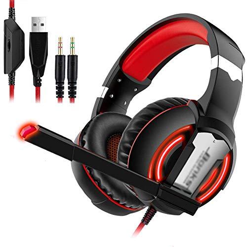 Auriculares, sonido envolvente, reducción de ruido, deportes impermeables, música, viajes, auriculares, computadora/PC/teléfono móvil/TV universal (color: rojo)