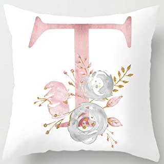Eanpet Throw Pillow Covers Alphabet Decorative Pillow Cases ABC Letter Flowers Cushion Covers 18 x 18 Inch Square Pillow Protectors for Sofa Couch Bedroom Car Chair Home Decor (T)