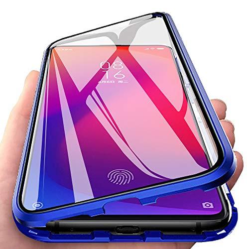 JoiCase Funda para Xiaomi Mi 9T Mi 9T Pro Adsorcion Magnetica Carcasa 360 Grado Protección Estuche Marco Aluminio Untre Delgada Háptico Vidrio Templado Anti Choque Metal Flip Cover