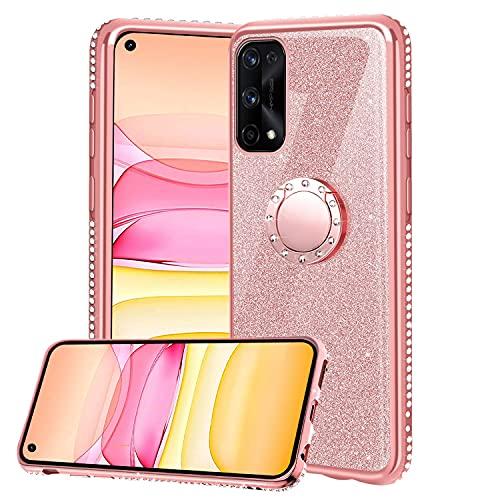 XTCASE Funda para Realme 7 Pro Glitter, Diamante Brillo Carcasa 360 Grados Soporte Anillo Giratorio Resistente de Gel Silicona TPU Anti-Rasguños Bling Cover - Rosa