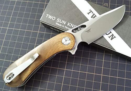 TwoSun Knives Tepe Designs 14C28N Burl Wood Flipper Pocket Knife TS134-Wood