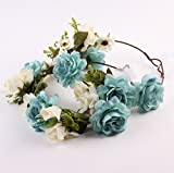 ZUMUii Banda para el Pelo de Flores, para Ni?a o Mujer, Estilo Boho, para Festivales, Bodas, Fiestas de Cumplea?os Azul Azul Eltern-Kind