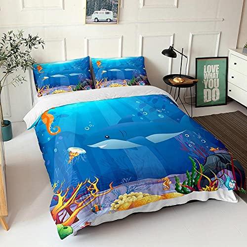 LUOWAN Océano Funda Nordica 3D Impresión Ropa De Cama De - Super King 240x260 CM - Animal Tiburón Azul 3 - Funda de Edredón 3 Ropa de Cama Suave Familia Niño Niña Moderno Estilo Colcha Cama