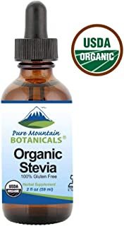Organic Liquid Stevia Sweetener – Alcohol Free and Kosher Sugar Substitute - 2oz Glass Bottle