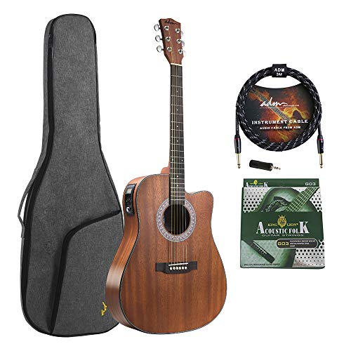 ADM Full Size Acoustic Electric Solid Top Guitar 41 Inch Cutaway Dreadnought Guitar Handmade Wood Kids Guitar with EQ, Built in Tuner, Mahogany