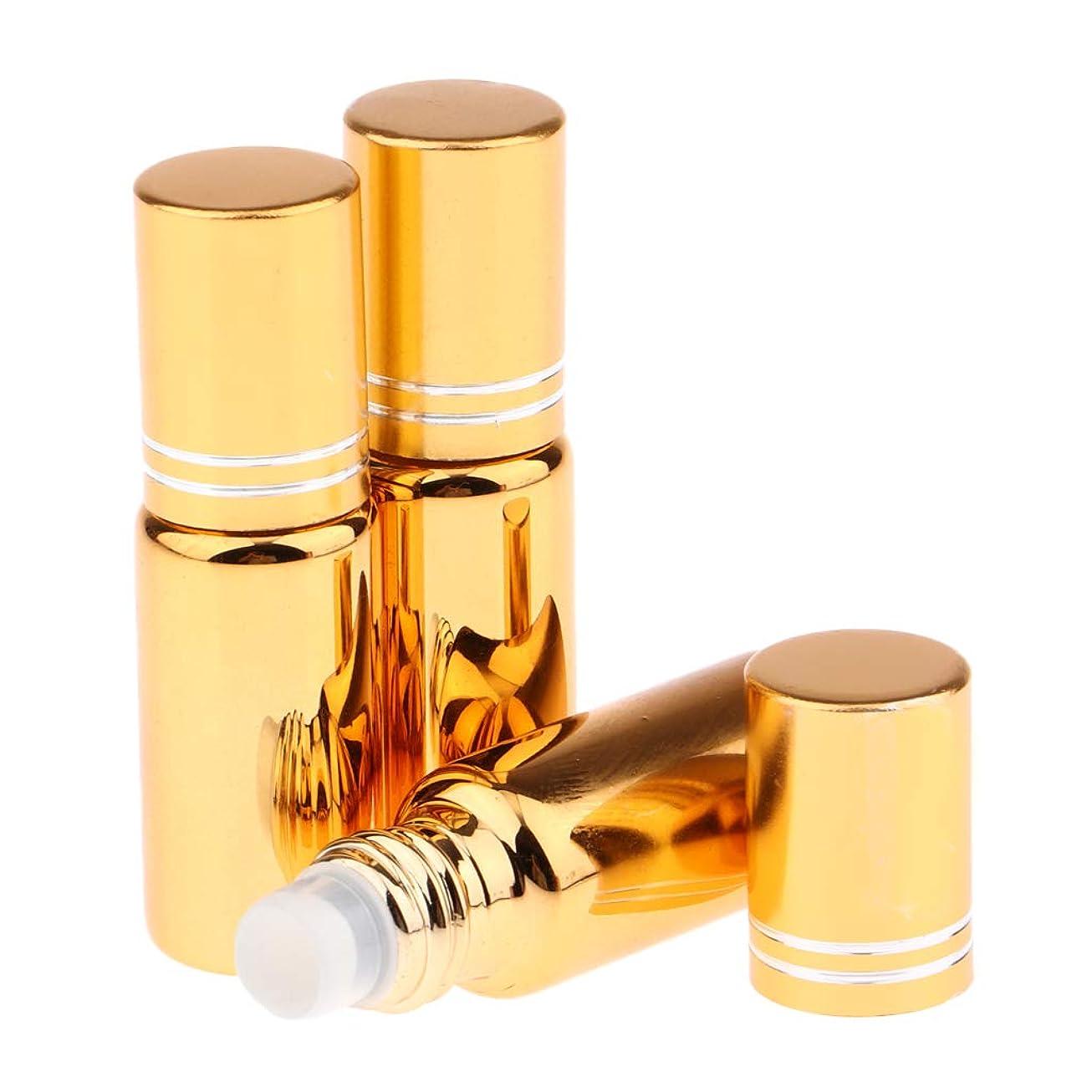 Sharplace 詰め替え ロールオンボトル アロマオイル容器 旅行/出張 携帯便利 全6色 - 金